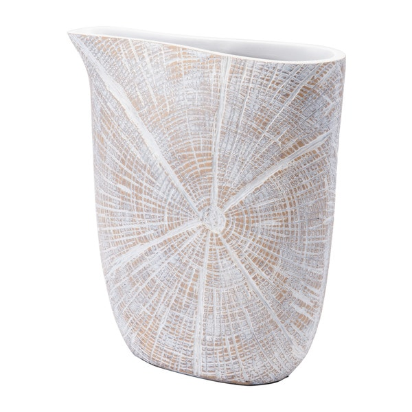 White Poly Jar Sm Antique Beige