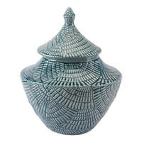 Escalera Mint Ceramic Decorative Small Covered Jar