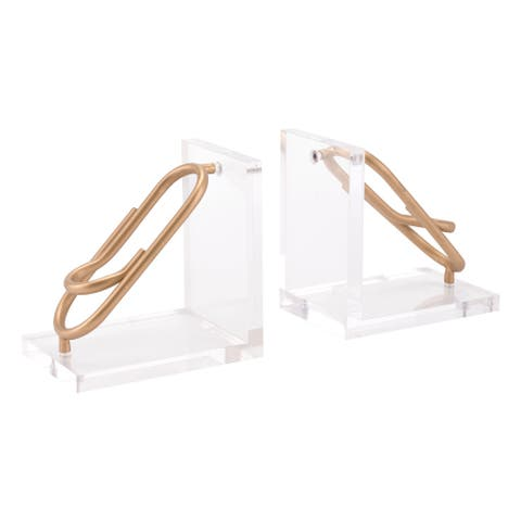 Goldtone Steel Paperclip Bookends