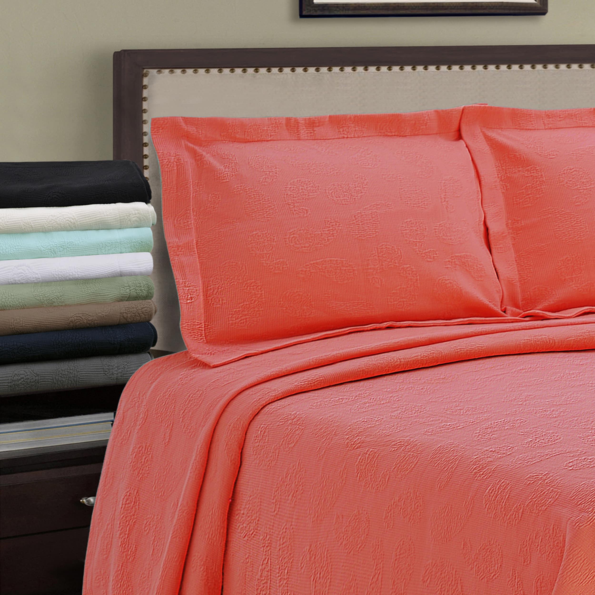 Superior Jacquard Matelasse Paisley Cotton Bedspread Set ...