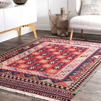 """nuLoom Southwestern Tribal Aztec Red Wool Handmade Flatweave Rug (7'6 x 9'6) - 7'6"""" x 9'6"""""""