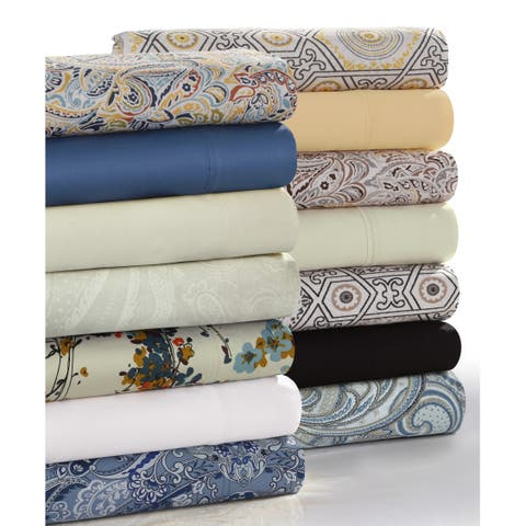 Solid or Printed 300 Thread Count Cotton Sateen Deep Pocket Sheet Set