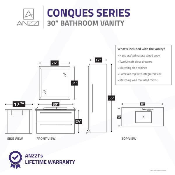 Anzzi Conques 30 In W X 20 In H Bathroom Vanity Set In Rich White Overstock 18685629
