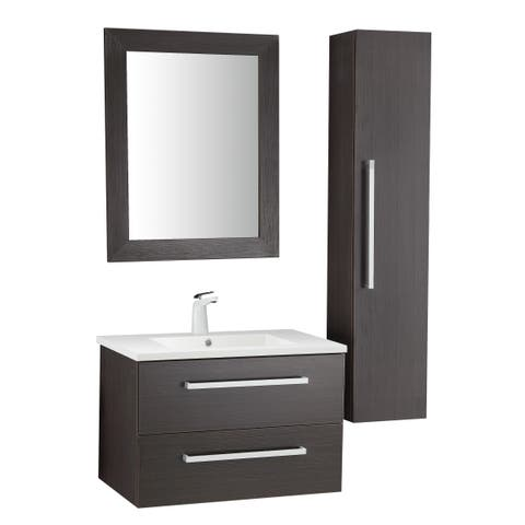 ANZZI Conques 30 in. W x 20 in. H Bathroom Vanity Set in Rich Umber