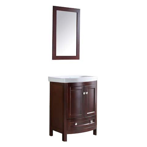 ANZZI Montresor 24 in. W x 34 in. H Walnut Single Sink Vanity Set