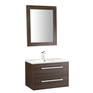 ANZZI Conques 30 in. W x 20 in. H Rich Brown Single Sink Vanity Set
