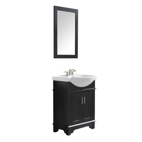ANZZI Montbrun 24 in. W x 34 in. H Black Single Sink Vanity Set