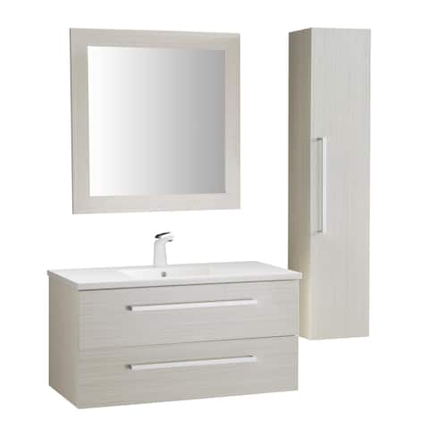 ANZZI Conques 39 in. W x 20 in. H Bathroom Vanity Set in Rich White