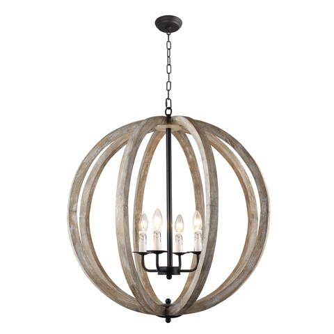 Y-Decor Capoli 4 Light Wooden Orb Chandelier in Neutral Finish