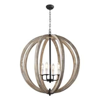 Y Decor Capoli 4 Light Wooden Orb Chandelier In Neutral Finish