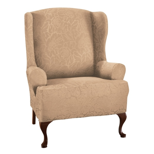 floral slipcovers for wingback chairs | Shop Stretch Sensations Stretch Floral Wing Chair ...