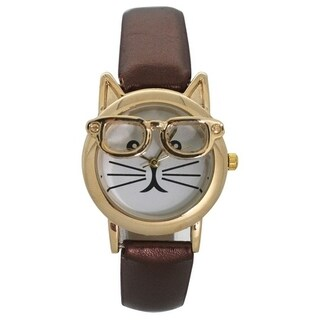 Olivia Pratt Women's 'Cat in Glasses' Leather Watch
