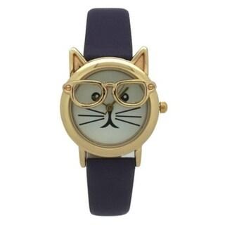 Olivia Pratt Women's 'Cat in Glasses' Leather Watch