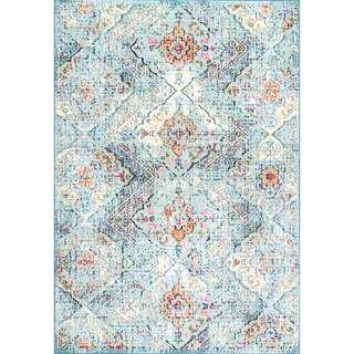nuLOOM Light Blue Distressed Floral Area Rug 5 x 8-inch