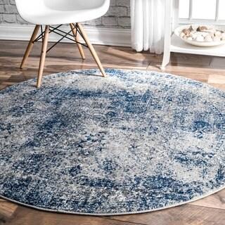 nuLOOM Vintage Distressed Blue Round Rug - 5' Round