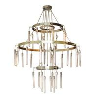 The Spindle 3 Tiered Antique Brass Chandelier
