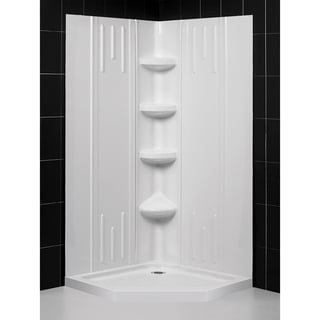 """DreamLine 36 in. x 36 in. x 75 5/8 in. H Neo-Angle Shower Base and Acrylic Backwall Kit - 36"""" x 36"""""""