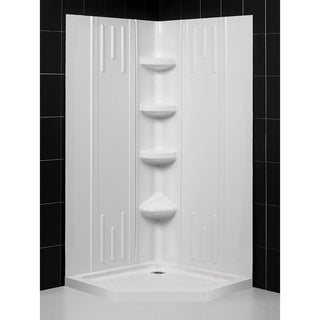 DreamLine 36 in. x 36 in. x 75 5/8 in. H SlimLine Neo-Angle Shower Base and QWALL-2 Acrylic Backwall Kit