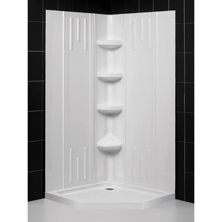 DreamLine 42 in. x 42 in. x 75 5/8 in. H SlimLine Neo-Angle Shower Base and QWALL-2 Acrylic Backwall Kit