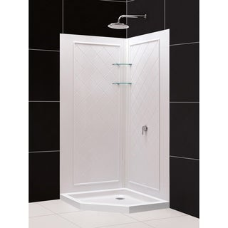 DreamLine 36 in. x 36 in. x 75 3/4 in. H SlimLine Neo-Angle Shower Base and QWALL-4 Acrylic Backwall Kit