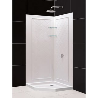 DreamLine 40 in. x 40 in. x 75 3/4 in. H SlimLine Neo-Angle Shower Base and QWALL-4 Acrylic Backwall Kit