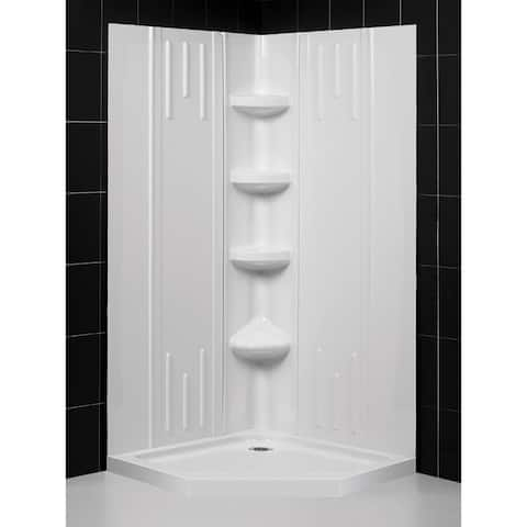 """DreamLine 40 in. x 40 in. x 75 5/8 in. H Neo-Angle Shower Base and Acrylic Backwall Kit - 40"""" x 40"""""""