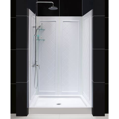 "DreamLine 32 in. D x 48 in. W x 76 3/4 in. H Single Threshold Shower Base and Acrylic Backwall Kit - 32"" x 48"""