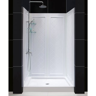 DreamLine 32 in. D x 48 in. W x 76 3/4 in. H SlimLine Single Threshold Shower Base and QWALL-5 Acrylic Backwall Kit