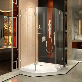 DreamLine Prism Lux 40 in. x 40 in. x 74 3/4 in. H Frameless Hinged Shower Enclosure and SlimLine Shower Base Kit