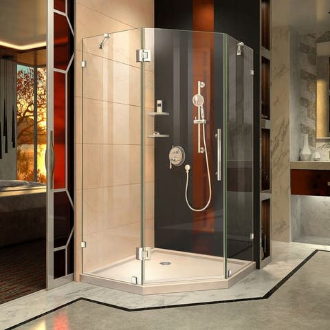 """DreamLine Prism Lux 42 in. x 42 in. x 74 3/4 in. H Hinged Shower Enclosure and Shower Base Kit - 42"""" x 42"""""""
