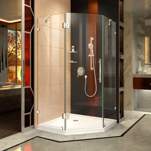 "DreamLine Prism Lux 42 in. x 42 in. x 74 3/4 in. H Hinged Shower Enclosure and Shower Base Kit - 42"" x 42"""