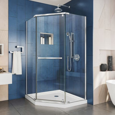 "DreamLine Prism 36 in. x 36 in. x 74 3/4 in. H Pivot Shower Enclosure and Shower Base Kit - 36"" x 36"""