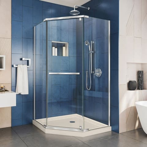 """DreamLine Prism 38 in. x 38 in. x 74 3/4 in. H Pivot Shower Enclosure and Shower Base Kit - 38"""" x 38"""""""