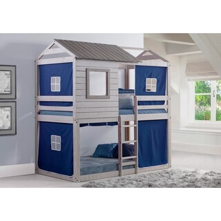 Donco Kids Deer Blind Twin over Twin Bunk Loft with Tent in Light Grey Finish