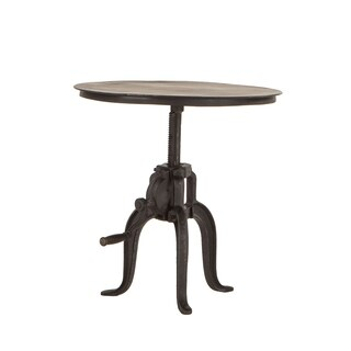 World Interiors Reclaimed Metal Small Adjustable Crank Side Table