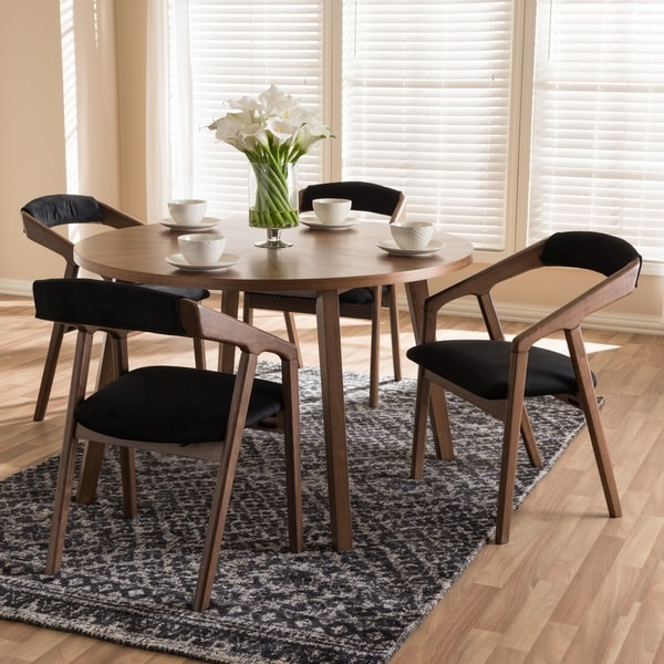 Mid Century Dining Room: Shop Mid-century Grey Fabric 5-piece Dining Set By Baxton