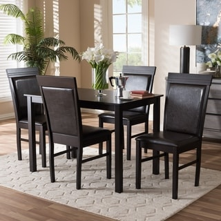 Contemporary Brown Faux Leather 5-Piece Dining Set by Baxton Studio