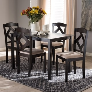 Contemporary Beige Fabric 5-Piece Dining Set by Baxton Studio