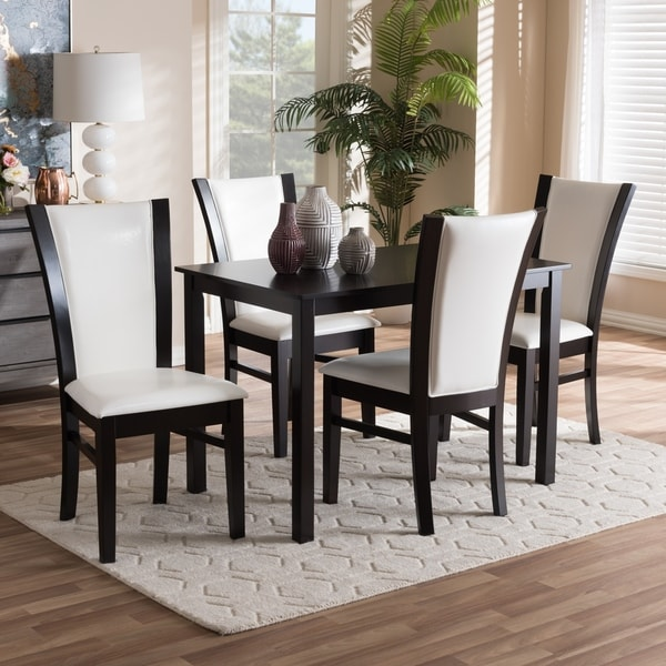 White Leather Dining Room Set: Shop Contemporary 5-Piece White Faux Leather Dining Set By