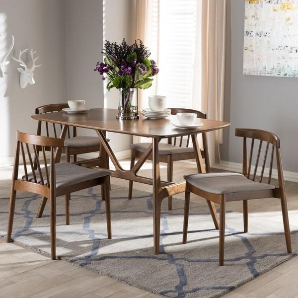 Mid Century Grey Fabric 5 Piece Dining Set By Baxton Studio
