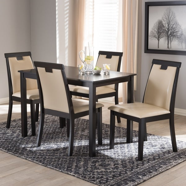 Shop Contemporary Beige Faux Leather 5-Piece Dining Set By