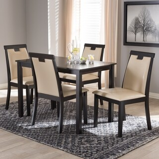 Contemporary Beige Faux Leather 5-Piece Dining Set by Baxton Studio