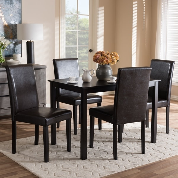 Modern Retro 5 Piece Dinette Set With Faux Leather Black: Shop Contemporary Brown Faux Leather 5-Piece Dining Set By
