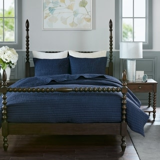 Madison Park Signature Serene Blue Cotton Quilted Coverlet Set