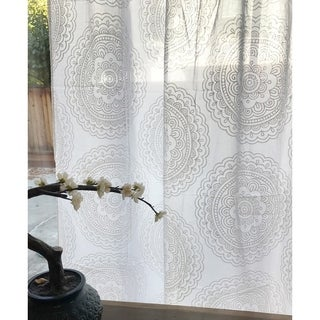 Sheer Handmade Mandala White Curtain 46 X 84