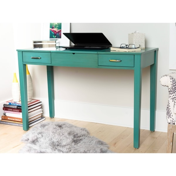 Haven Home Ainsley Turquoise Vanity Desk with Mirror