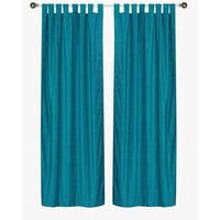 Turquoise Tab Top  Velvet Curtain / Drape / Panel  - Piece