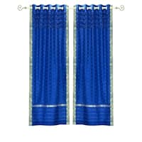 Enchanting Blue Hand Crafted Grommet Top Sheer Sari Curtain Panel -Piece