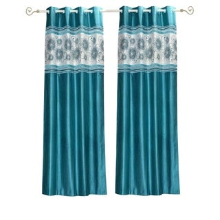 Turquoise Grommet Top Satin Curtain Panel Drape -Piece