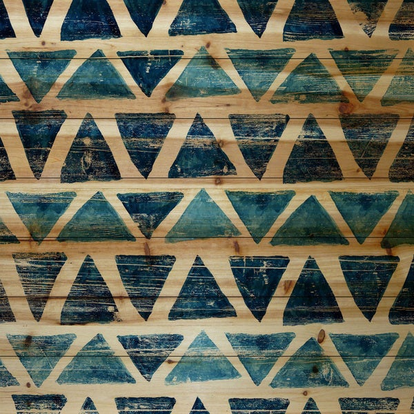 Marmont Hill - Handmade Blue Triangles Painting Print on Natural Pine Wood